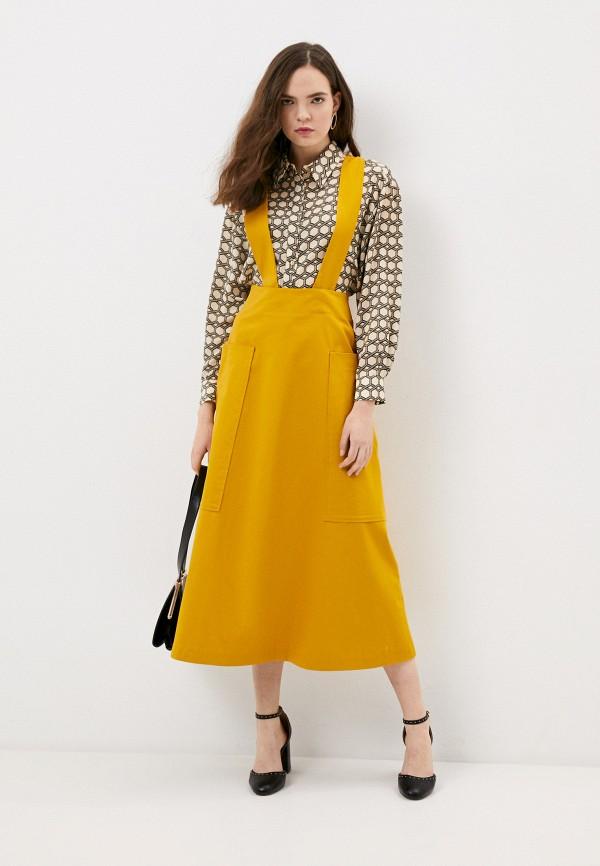 женский сарафан-трапеции модный дом виктории тишиной, желтый