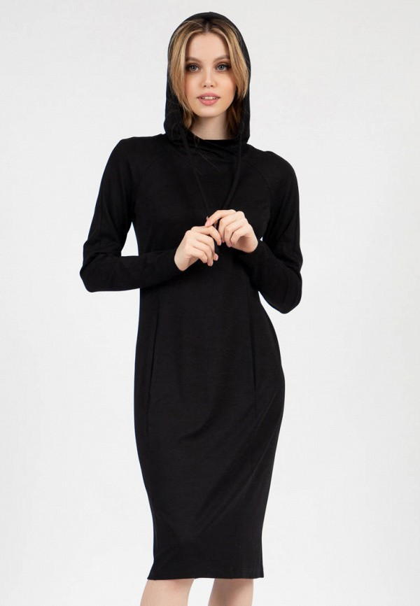 женское платье-толстовки grey cat, черное