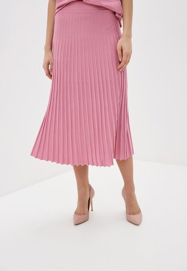 женская плиссированные юбка franco vello, розовая
