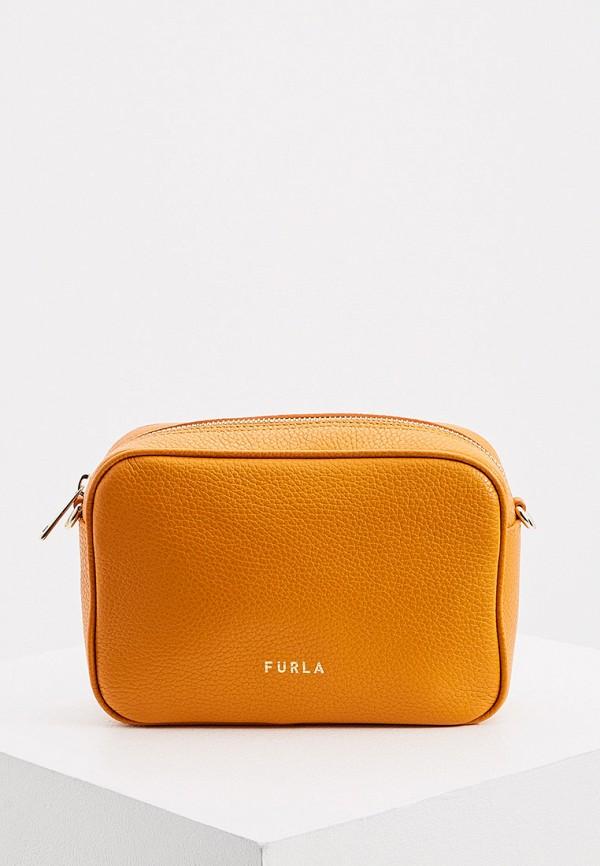 женская сумка через плечо furla, оранжевая