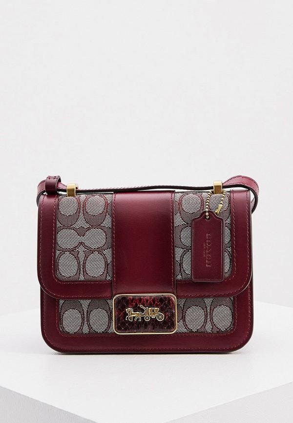женская сумка через плечо coach, бордовая