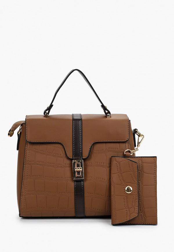 женский кошелёк с ручками артми, коричневый