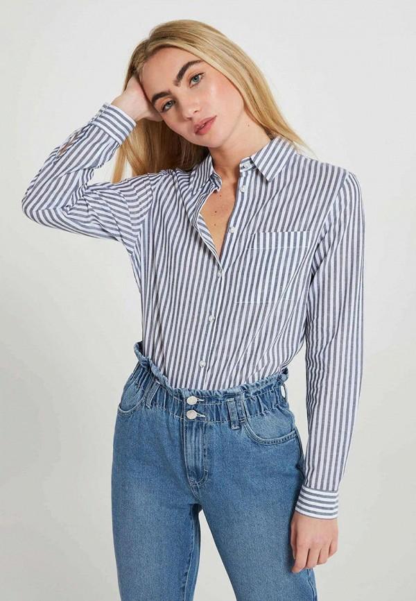женская рубашка с длинным рукавом terranova, синяя