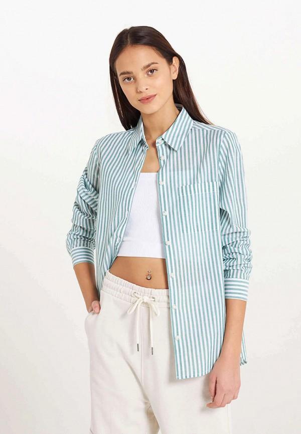 женская рубашка с длинным рукавом terranova, бирюзовая