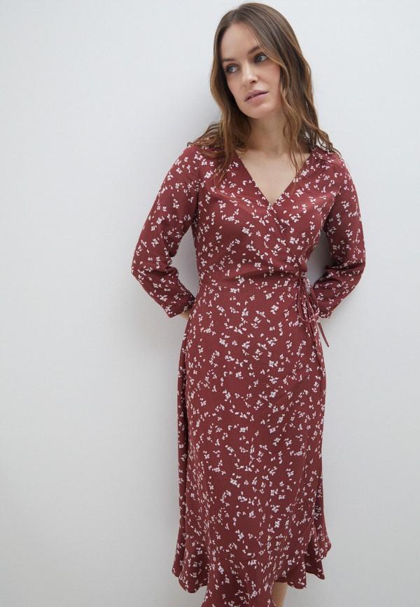 женское платье с запахом zarina, бордовое