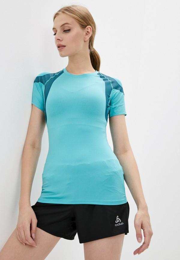 женская спортивные футболка odlo, бирюзовая
