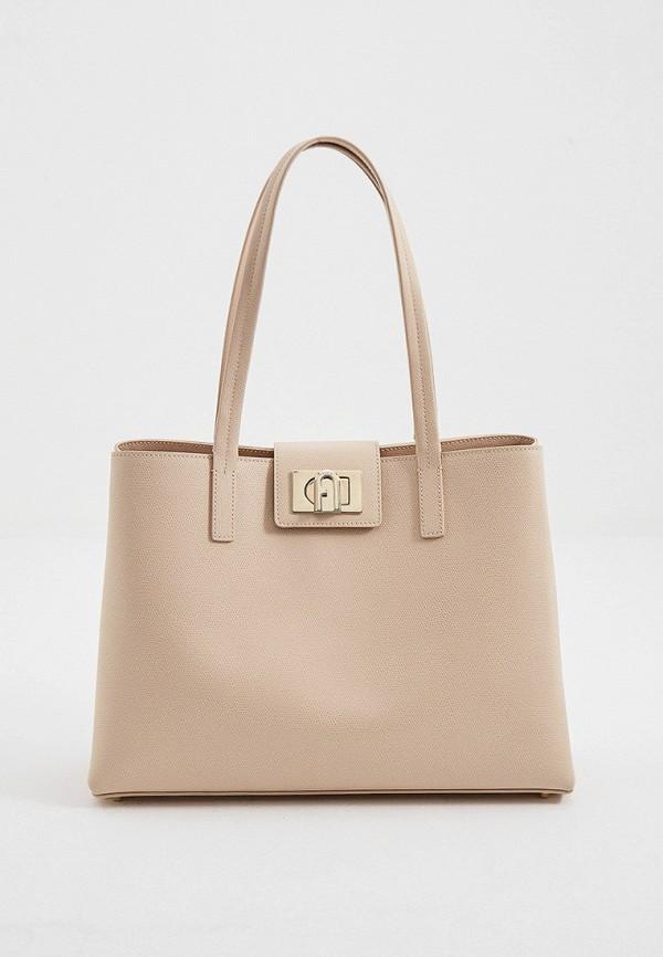 женская сумка-тоут furla, розовая