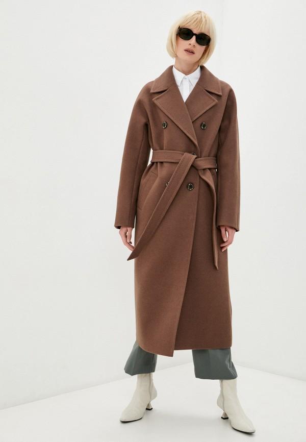 женское двубортные пальто paradox, коричневое