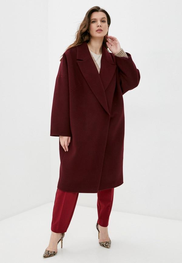 женское пальто paradox, бордовое