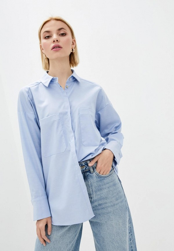 женская рубашка с длинным рукавом week, голубая