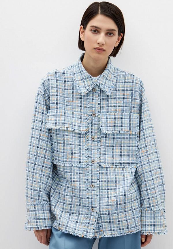 женская рубашка с длинным рукавом lime, голубая