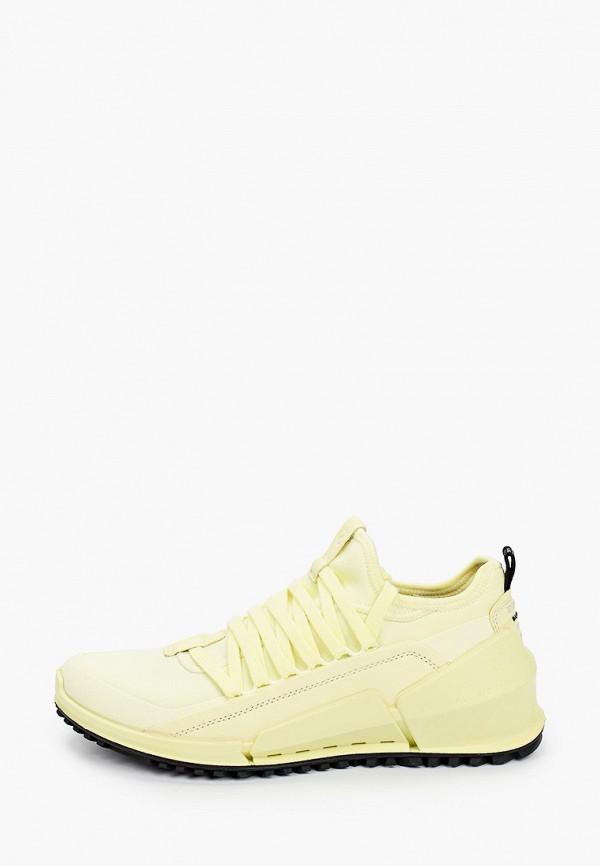 женские низкие кроссовки ecco, желтые