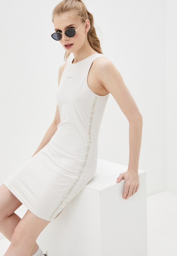 женское платье calvin klein, бежевое