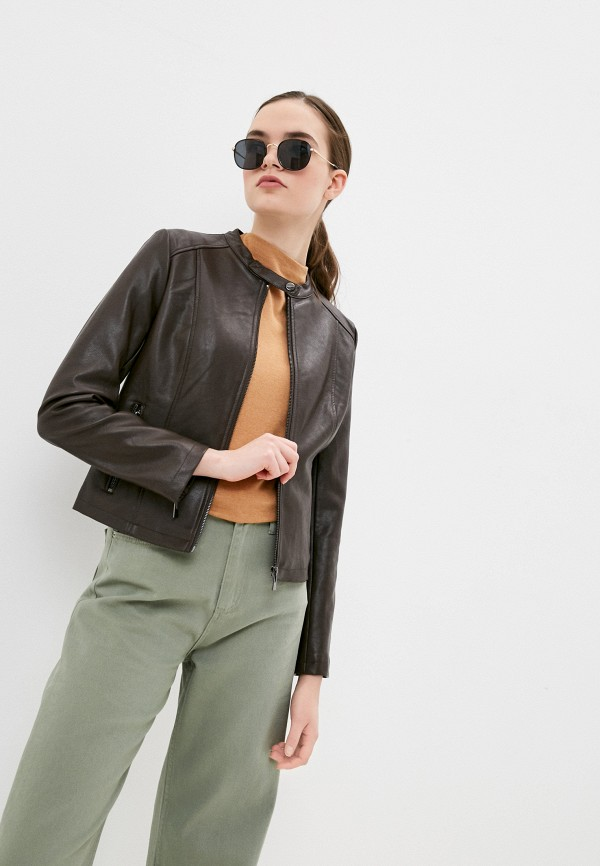 женская кожаные куртка concept club, коричневая