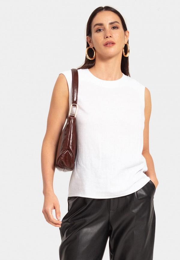 женская блузка без рукавов lezzarine, белая