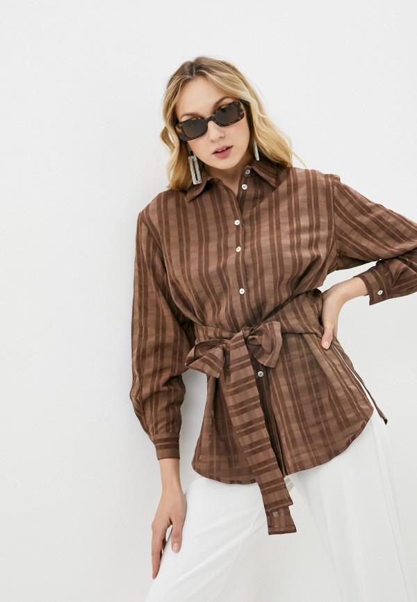женская рубашка с длинным рукавом alina assi, коричневая
