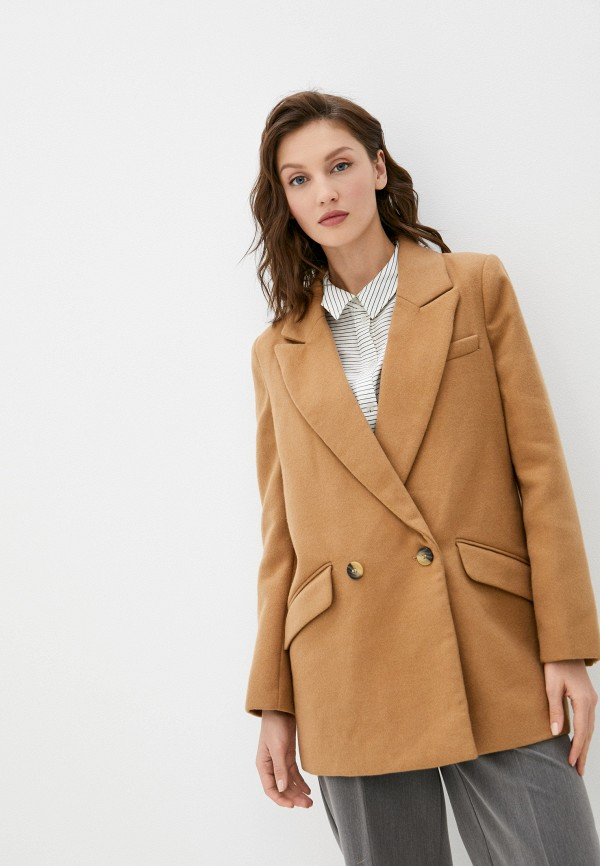 женское двубортные пальто w.sharvel, бежевое