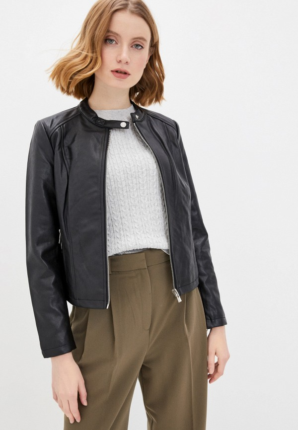женская кожаные куртка concept club, черная