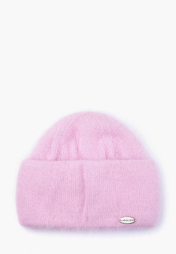 женская шапка luckylook, розовая
