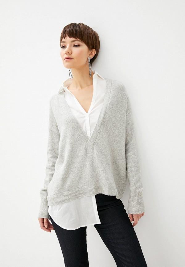 женский пуловер patrizia pepe, серый