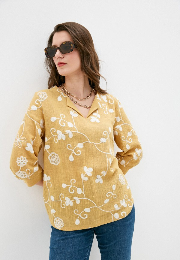 женская блузка с длинным рукавом стикомода, желтая