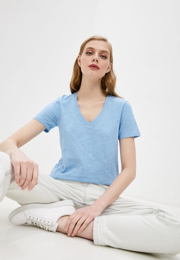 женская футболка boss, голубая