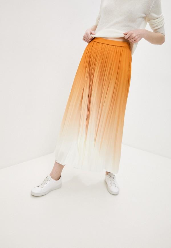 женская плиссированные юбка boss, оранжевая