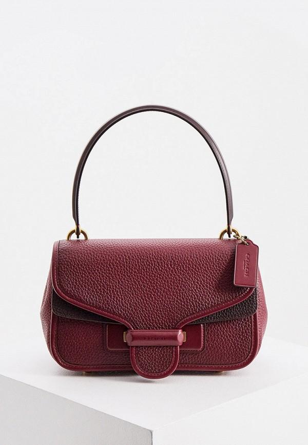 женская сумка с ручками coach, бордовая