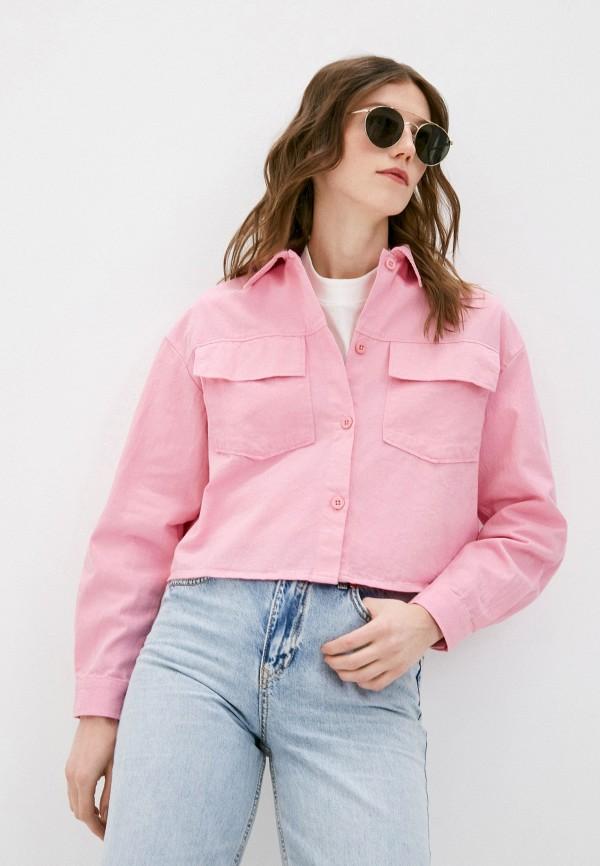 женская джинсовые рубашка befree, розовая