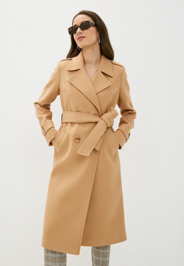 женское двубортные пальто vittoria vicci, бежевое