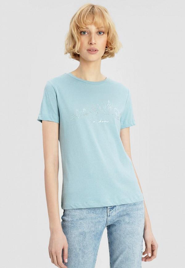 женская футболка o'stin, голубая