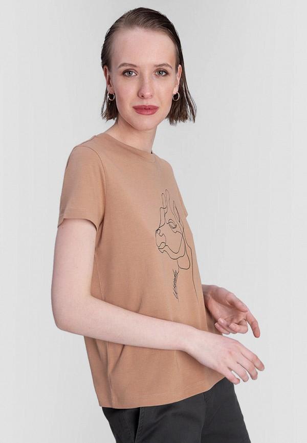 женская футболка o'stin, коричневая