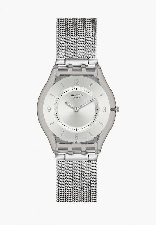 женские часы swatch, серебряные