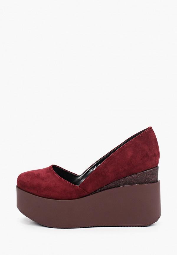 женские туфли с закрытым носом ridlstep, бордовые