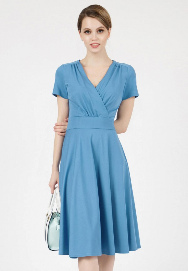 женское платье с запахом grey cat, голубое