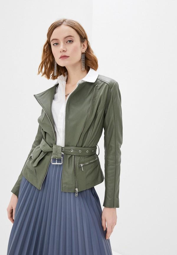 женская куртка косухи снежная королева, зеленая