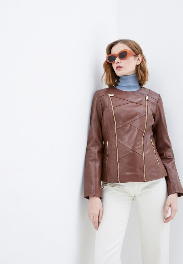 женская куртка косухи снежная королева, коричневая