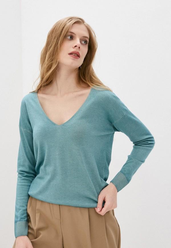 женский пуловер falconeri, бирюзовый