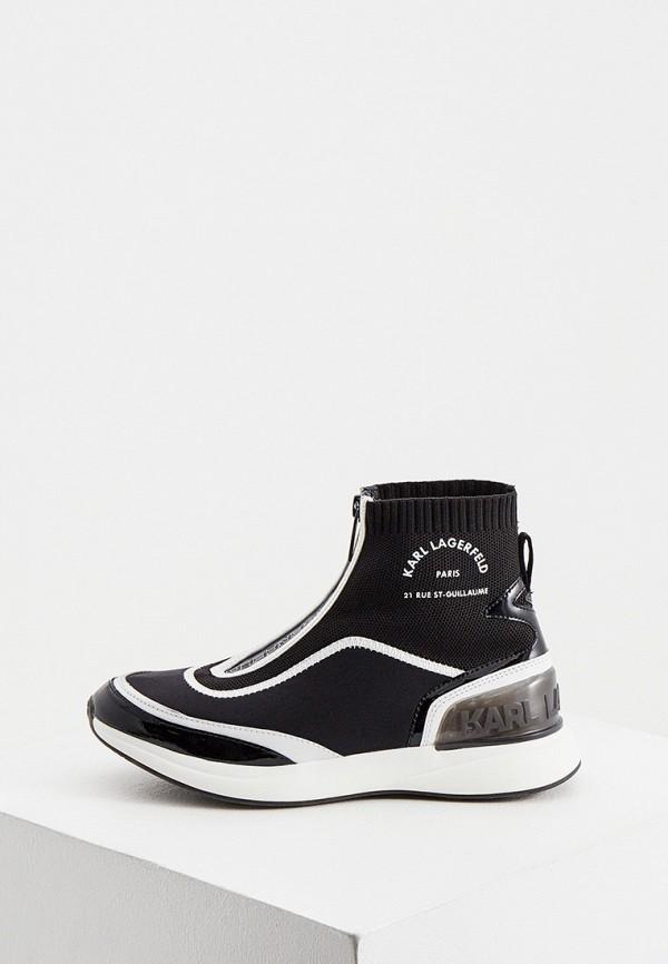 женские высокие кроссовки karl lagerfeld, черные