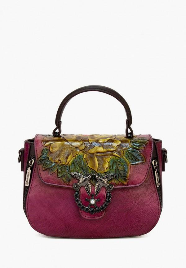женская сумка с ручками laccoma, фиолетовая