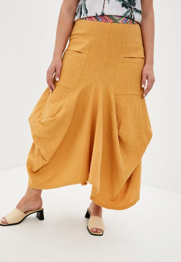 женская юбка-трапеции мадам т, оранжевая