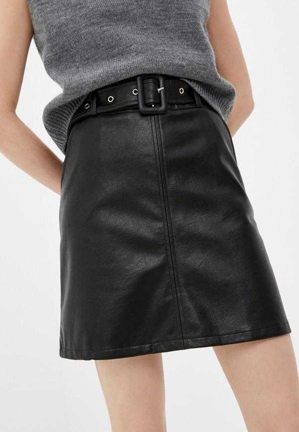 женская кожаные юбка shelter, черная