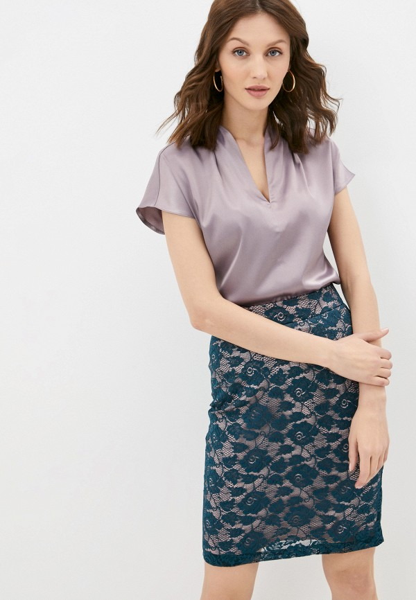 женская блузка с коротким рукавом marlen, фиолетовая