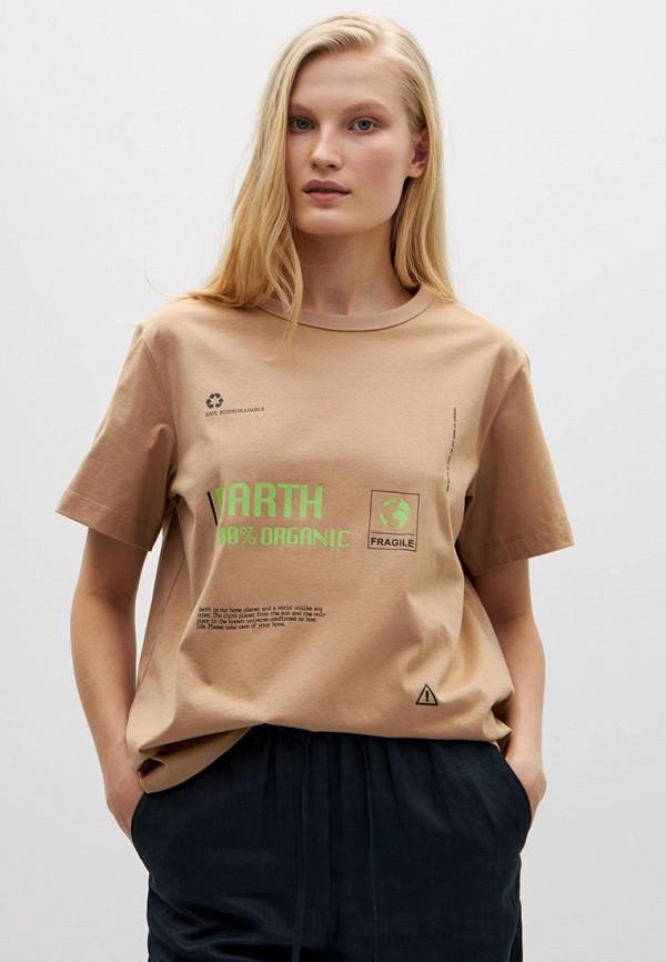 женская футболка lime, коричневая