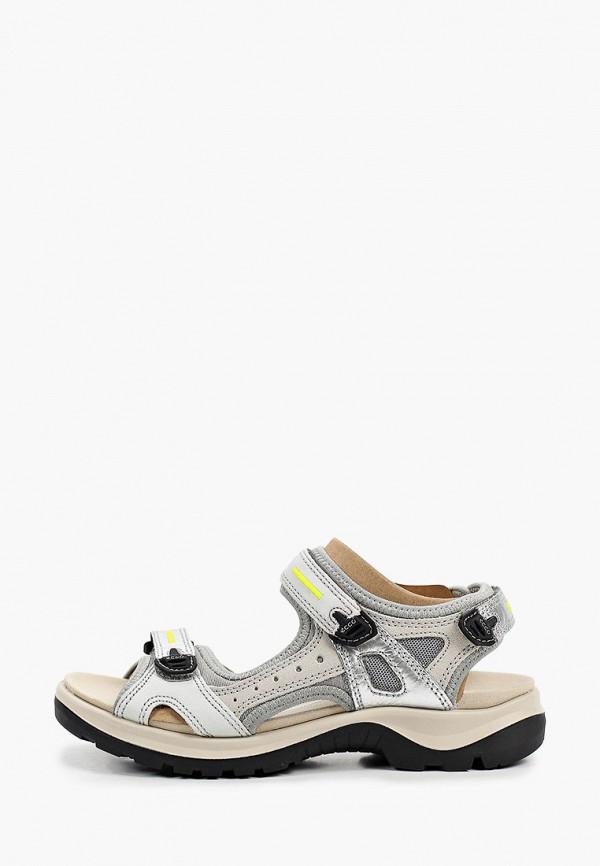 женские сандалии ecco, серебряные
