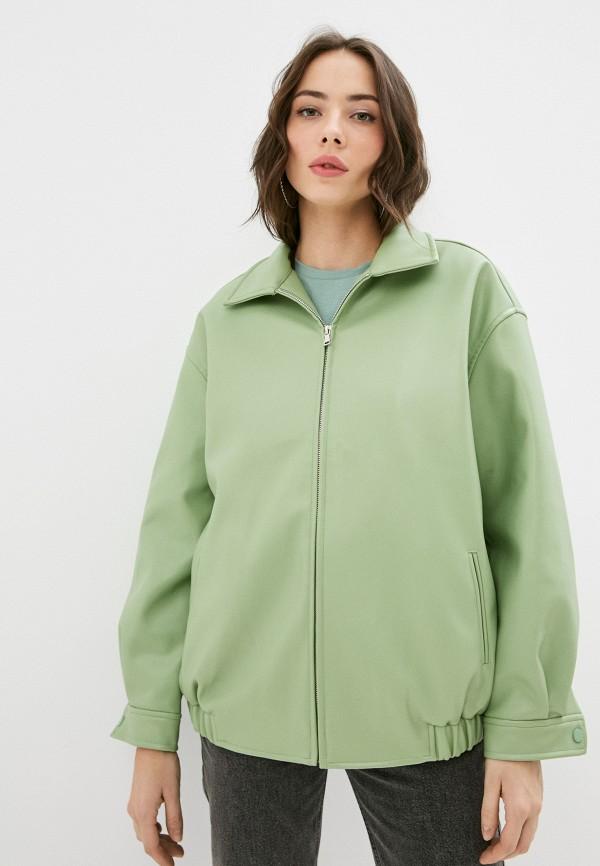 женская кожаные куртка top top, зеленая