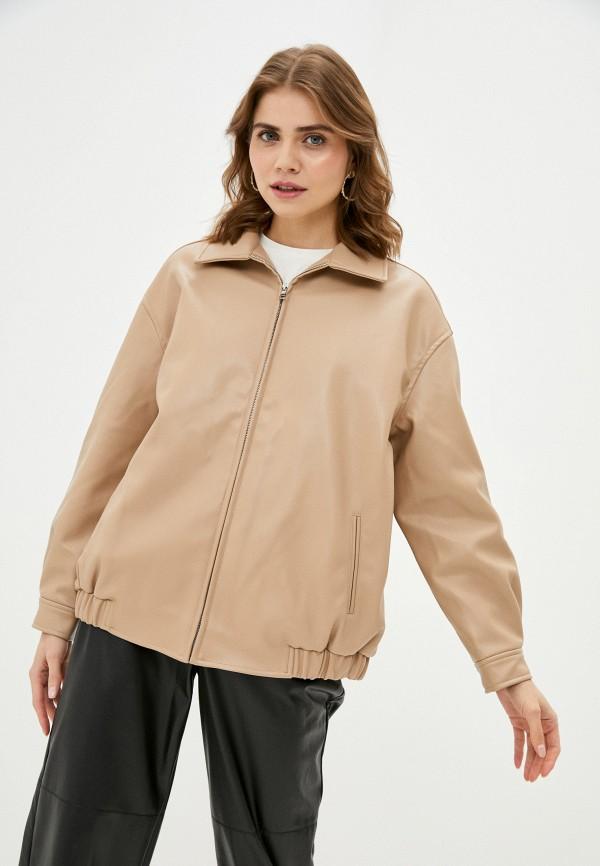 женская кожаные куртка top top, бежевая