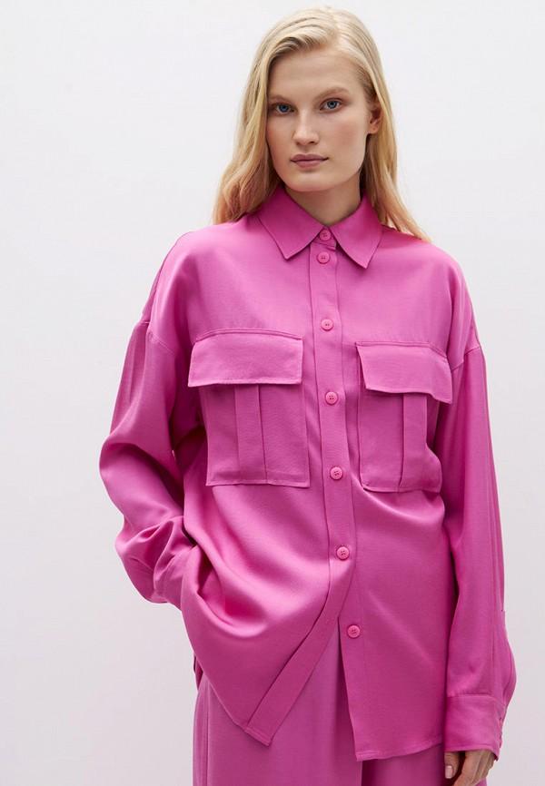 женская блузка с длинным рукавом lime, розовая