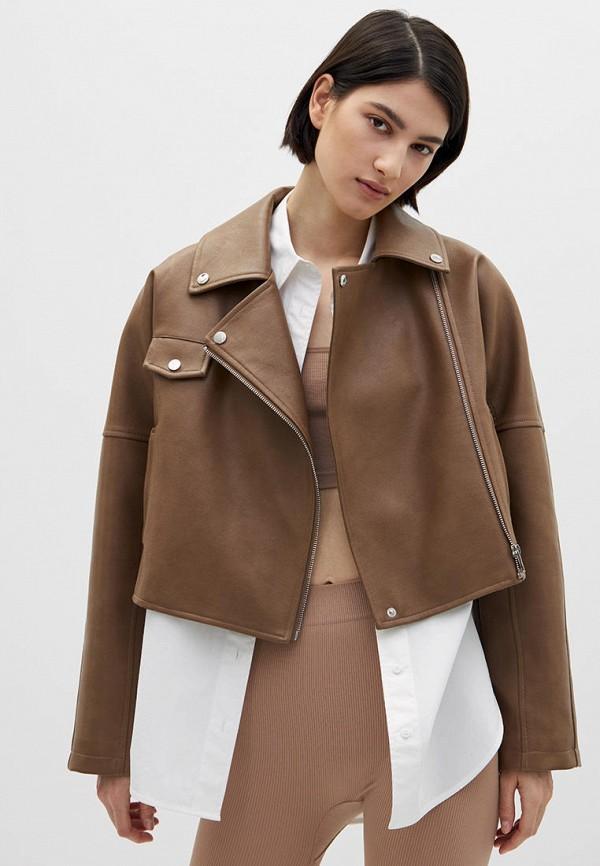 женская куртка косухи lime, коричневая