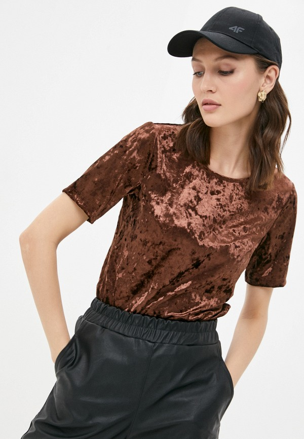 женская футболка a-a awesome apparel by ksenia avakyan, коричневая